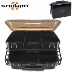 SAKURA Boîte de rangement pour la pêche Sk-9380 -Noir fumé