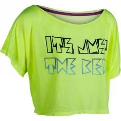 T shirt court danse femme jaune fluo