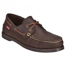 Chaussures bateau cuir homme CR500 marron foncé