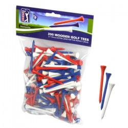 PGA TOUR Lot de 200 Tees de Golf en Bois - 7 cm