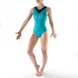 Justaucorps sans manches Gymnastique Féminine turquoise Sequins