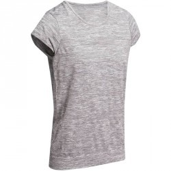 T Shirt yoga sans couture femme  gris chiné