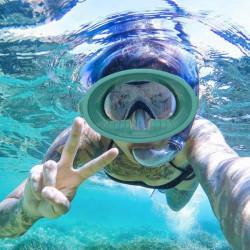 Plein large vue masque de plongée sous-marine avec masque et tuba anti-buée équipement de plongée étanche (vert métalliqu