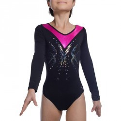 Justaucorps manches longues Gymnastique Féminine noir/rose sequins