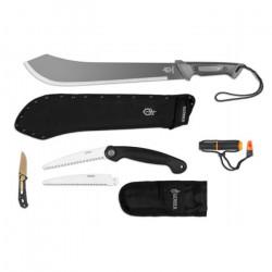 Kit de survie Gerber avec machette + scie pliante avec lame de rechange + couteau + briquet, GE30001561DIP