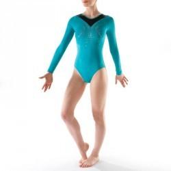 Justaucorps manches longues Gymnastique Féminine turquoise Sequins