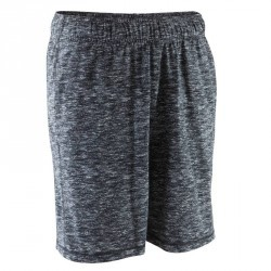 Short au dessus du genou Gym & Pilates homme chiné noir/gris
