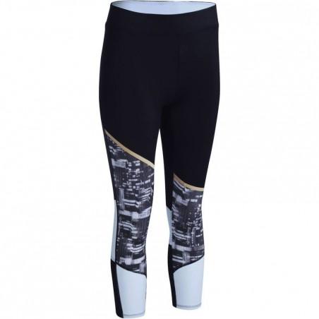 Legging 7/8 respirant fitness cardio femme noir et blanc ENERGY XTREM