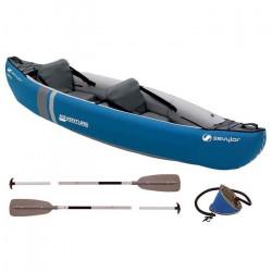 SEVYLOR Canoë polyvalent Kit Adventure 2 personnes bleu avec sac, 2 pagaies simples et gonfleur