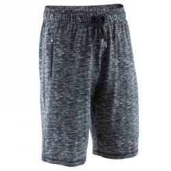 Short à hauteur de genou Gym & Pilates homme chiné noir/gris