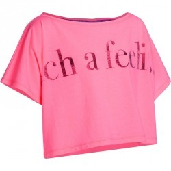 T-shirt danse rose fluo court et ample manches courtes fille.