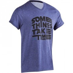 T Shirt slim imprimé Gym & Pilates homme bleu jeans