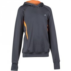 Sweat chaud capuche Gym Energy garçon gris