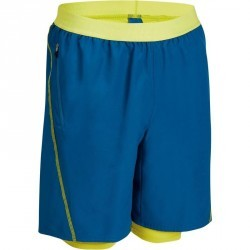 Short 2 en 1 fitness cardio homme bleu et jaune Energy