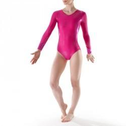 Justaucorps manches longues Gymnastique Féminine (GAF et GR) Rose 520