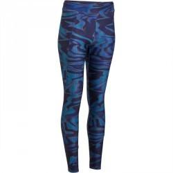 Legging fitness cardio femme imprimé noir et bleu Energy