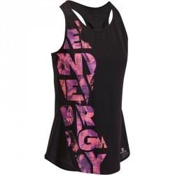 Débardeur fitness cardio femme noir imprimé rose Energy