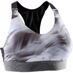 Brassière fitness cardio femme imprimé blanc noir Energy +