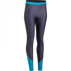 Legging fitness cardio femme gris chiné et bleu Energy