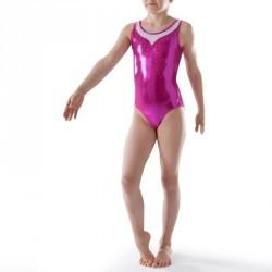 Justaucorps sans manches Gym Féminine (GAF/GR) paillette/strass/voile rose