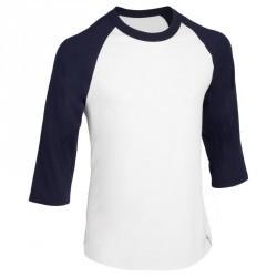 Tee shirt de baseball pour adulte 3/4 BA 550 blanc et bleu
