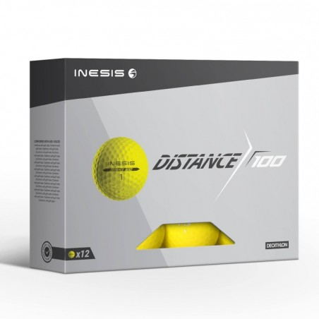 Balle de golf DISTANCE 100 X12 Jaune