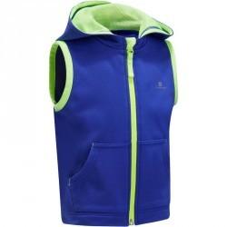 Veste chaude sans manches zippée capuche Gym baby bleu