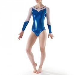 Justaucorps manches longues Gym Féminine (GAF/GR) paillette/strass/voile bleu
