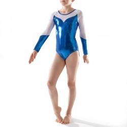 Justaucorps manches longues Gym Féminine (GAF/GR) paillettes/strass/voile bleu.