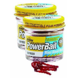 Berkley  Powerbait Maxi Blood Worms - Vers de vases - Rouge - Twin Pack - Paquet de 100 - 642-1092475