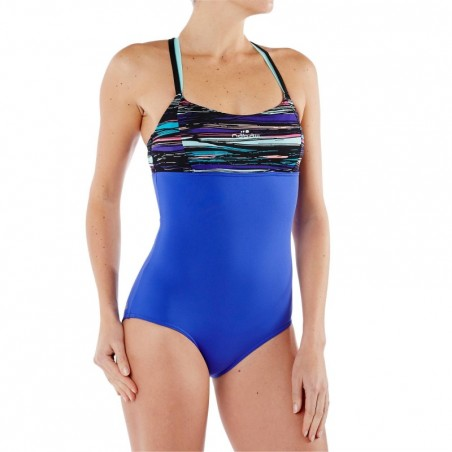 Maillot de bain d'Aquafitness une pièce Meg ultra résistant au chlore Stri bleu