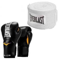 Mannequin D'Entrainement EVERLAST TKI8L Elite Pro Style Black Boxing Gloves & 120 Inch Cotton Hand Wrap, White