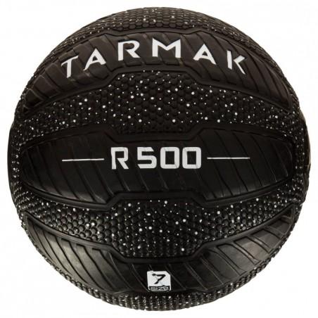 Ballon de basket adulte R500 taille 7 noir blanc  Increvable et ultra agrippant.