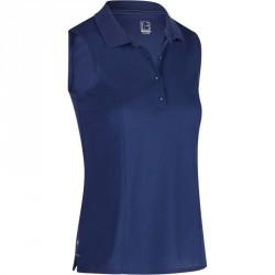 Polo de golf femme sans manches 900 temps chaud bleu foncé