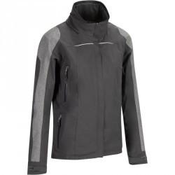 Veste imperméable équitation femme JKT500 noir et chevron