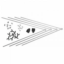 Lot de tringle pour garde-boues avant/arrière SKS secu chromoplastique(acc.inclus) - argenté/noir - TU