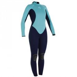 Combinaison SURF 100 Néoprène 4/3 mm Femme bleu