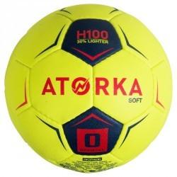 Ballon de handball H100 soft T0 jaune et rose