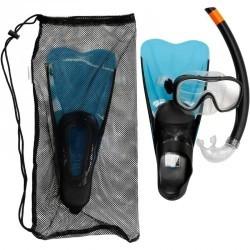 Kit de snorkeling palmes masque tuba 100 enfant bleu noir