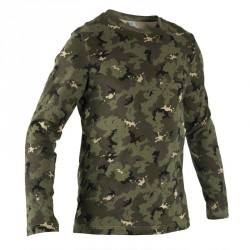 T shirt Steppe 100 manches longues camouflage island vert