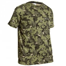 Tee shirt steppe 100 manches courtes camouflage vert