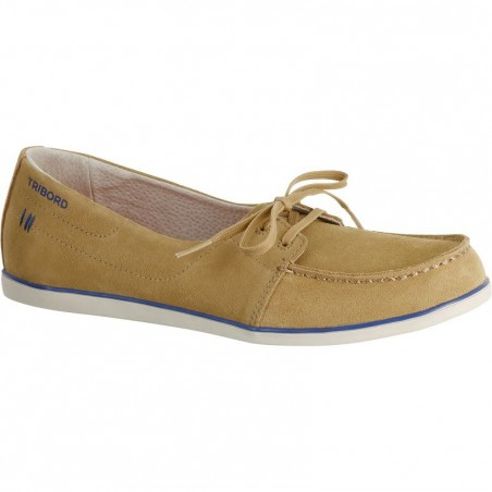 Chaussures bateau cuir femme KOSTALDE beige camel