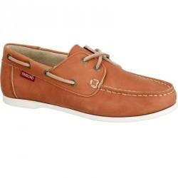 Chaussures bateau cuir femme CR500 marron clair
