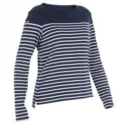 T-Shirt manches longues bateau 100 femme bleu