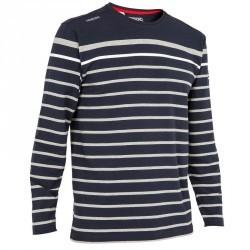 T-Shirt manches longues bateau 100 homme bleu foncé