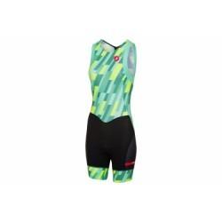 Combinaison Triathlon Femme Castelli Short Distance Race Vert Jaune Fluo Noir