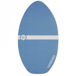 Skimboard en bois 500 pour enfant avec pad antidérapant bleu.