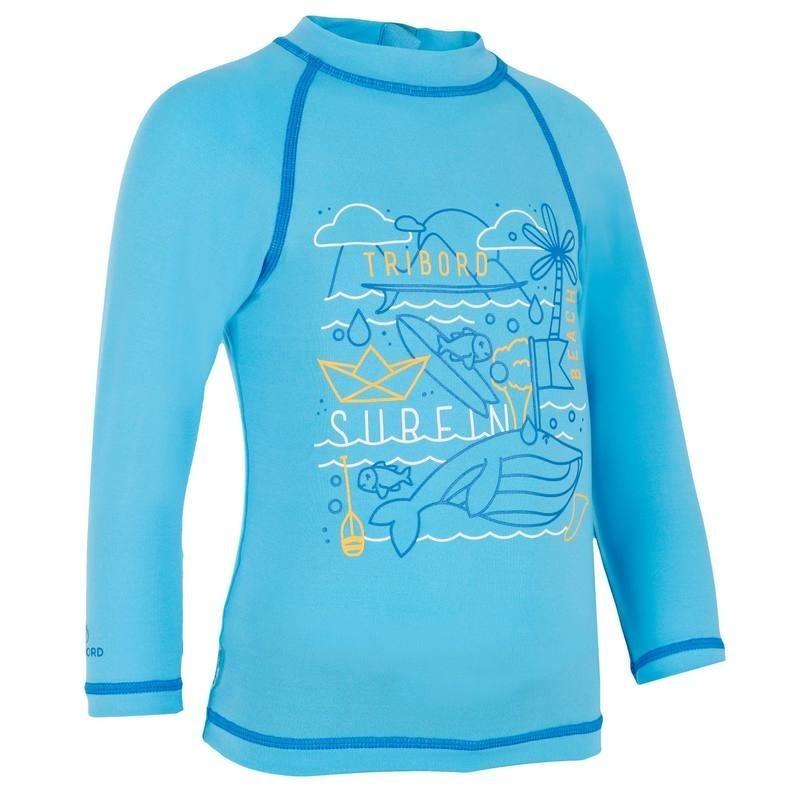 Tee shirt anti UV Bébé surf manches longues Bleu