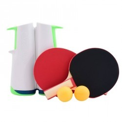 FILET DE TENNIS DE TABLE ADAPTABLE - SET ROLLNET + 2 RAQUETTES + 2 BALLES