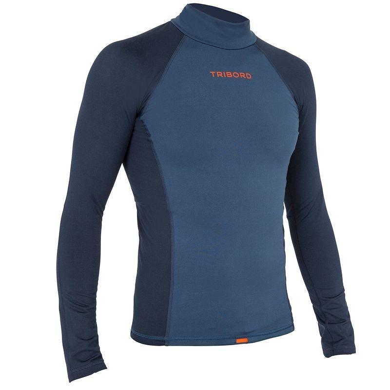 Tee shirt anti UV surf top 900 Thermique Manches Longues Homme Bleu